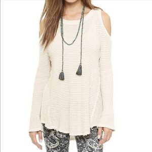 Free People Sunrise Cold Shoulder Knit Sweater, L